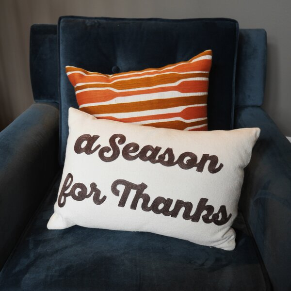 Season for Thanks 100% Cotton Lumbar Pillow by Hallmark Home & Gifts